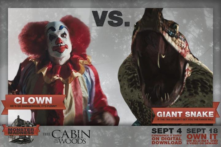 Clown-vs-Giant-Snake-the-cabin-in-the-woods